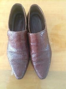 VGC Cole Haan Brown Woven Leather Ankle Boots SZ 8.5 Western