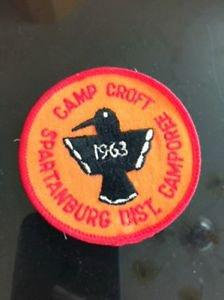 VTG Camp Croft Spartanburg District Camporee Patch 1963 Bird Detail