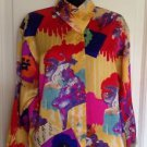 VTG UNGARO PARALLELE Paris Multicolor Mandarin Collar Silk Shirt SZ 4 1980s Cool