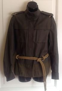 NWOT Yves Saint Laurent Rive Gauche Safari Jacket Military SZ FR 44 US 10 Chic