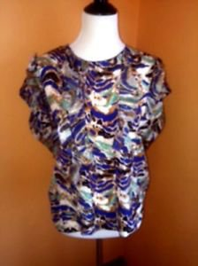 NWOT MISSONI 100% Silk Chiffon Multicolor Ruffled Abstract Color Blouse SZ 8
