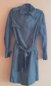 EUC Banana Republic Olive Green Nylon Trench Coat SZ S Topper Career Waist Belt