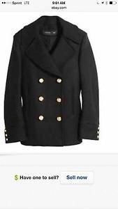Balmain x H&M Double Breasted Black Wool Peacoat SZ US 12/42 EUR Military Winter