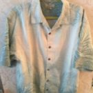 EUC TOMMY BAHAMA Light Blue & Cream Leaves Silk Button Down Shirt SZ L Floral