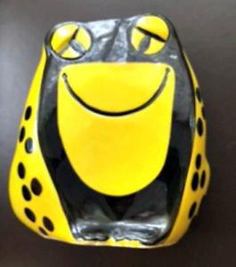 "VTG MCM BALDELLI Italy 7"" Yellow Black Ceramic Frog Piggy Bank Ceramics Gift"