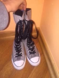Converse Chuck Taylor All Stars Grey Extra Tall High Tops Mens 5 button up SZ 7