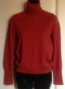 Chloe Wool Brick Red Turtleneck Sweater Sz M Medium Fall Warm Winter Wear Career