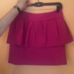 NWOT MILLY Pink Wool Blend Bubble Mini Skirt Zipper Flirty Peplum SZ 8 USA