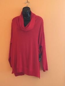 NWT Vince Camuto Red 100% Cotton Cowl Neck Sweater SZ 2XL Career Sensible Cute