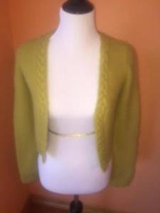PHILOSOPHY di Alberta Ferretti Lime Green Cropped Cardigan Angora Blend SZ 6