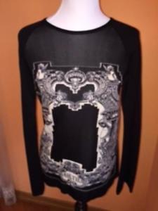 JEAN PAUL GAULTIER MAILLE FEMME Black Wool Long Sleeve Goth Sweater SZ XL
