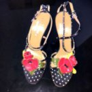 EUC VALENTINO GARAVANI Polka Dot Silk Red Leather Flower Detail Strappy Sandals