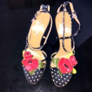 EUC VALENTINO GARAVANI Polka Dot Silk Red Leather Flower Detail Strappy Sandals