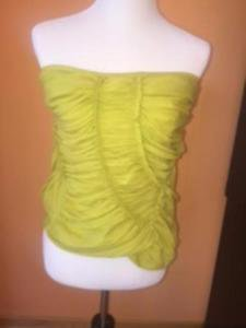 DONNA KARAN COLLECTION Silk Blend Ruched Lime Green Tube Top SZ M ITALY