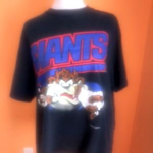 VTG Looney Tunes Black  T-shirt Tazmanian Devil Taz NY Giants 1990s SZ XL USA