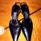 EUC FERRAGAMO Black Strappy Mule Sling Back Shoes SZ 7B Italy