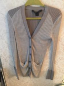 EUC Marc by Marc Jacobs 100% Silk Blend Taupe Gray Cardigan SZ L
