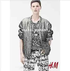 ISABEL MARANT x H&M Silver  Silk Lined Animal Print Bomber Jacket SZ US 4