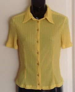 Yellow Versace Jeans Couture Yellow Button Down Blouse SZ XS Sexy Career 1990s