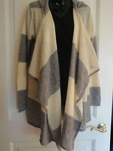 Anna Sui Hooded Gray & Cream Mohair Hood Cardigan Drapey Sexy Winter Wear Warm