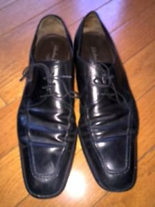 Mens Salvatore Ferragamo Black Leather Dress Shoes SZ 12D Made in Italy