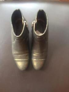 EUC LANVIN shoes Black & Gold Crinkle Leather Gold Foil Covered Boots SZ 36.5