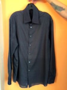 EUC Donna Karan Navy Men's Sheer Circle Optical Illusion Button Down Shirt S