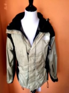 VGC NORTH FACE Beige Black 100% Nylon Gor-tex  Zippered Jacket Hood  Men's SZ S