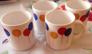 VTG WAECHTERSBACH Cream Colorful Party Balloon Print Coffee Mugs Germany 4 Set