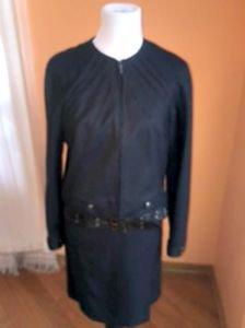 NWOT Christian Dior Boutique Wool Cashmere Blend Navy Pin Dot Skirt Jacket SZ 10
