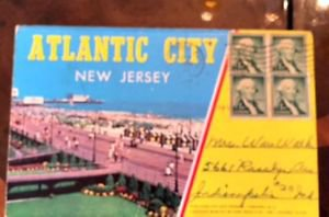 VTG ATLANTIC CITY New Jersey Fold Out Postcards 7 Double Sided Cards 1958