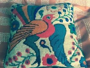 EUC VTG Multicolor Bird Peacock 1970s Crochet Pillow Home Decor Handmade SZ S