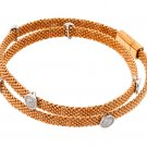 .925 Sterling Silver Rose Gold Plated Cubic Zirconia Fashion Charm Bracelet 567-PSB00011RGP