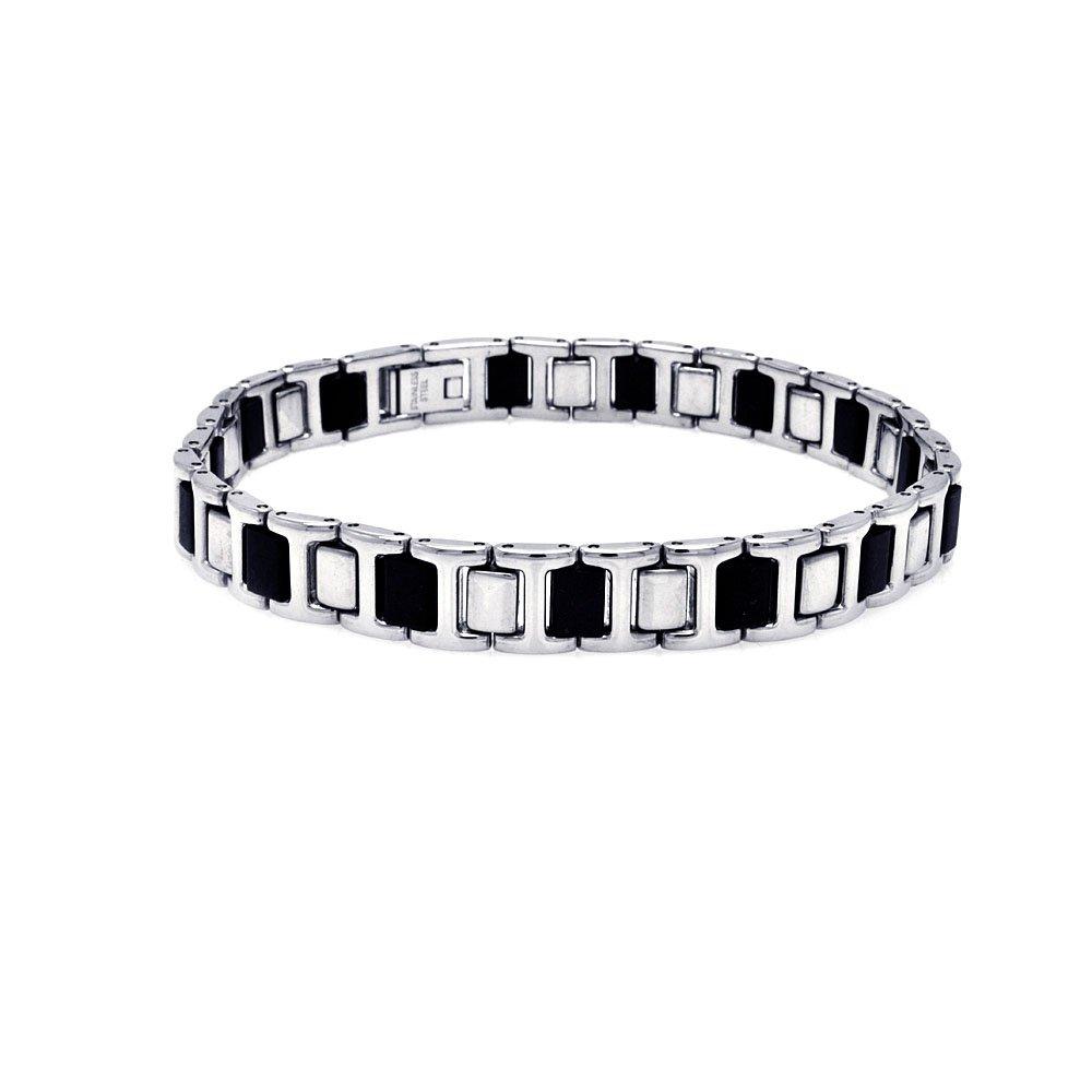 Stainless Steel Black Rubber Link Bracelet SOD 467ssb00125 on Sale For Men Women