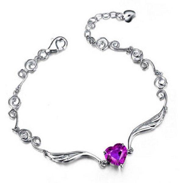 .925 Sterling Silver Amethyst Crystal Charm Bracelet Angel Jewelry for Women's Fashion