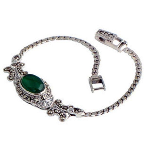 .925 Silver Women's Fashion Bracelet Red Garnet Gemstone Green Agate Black Onyx in Green