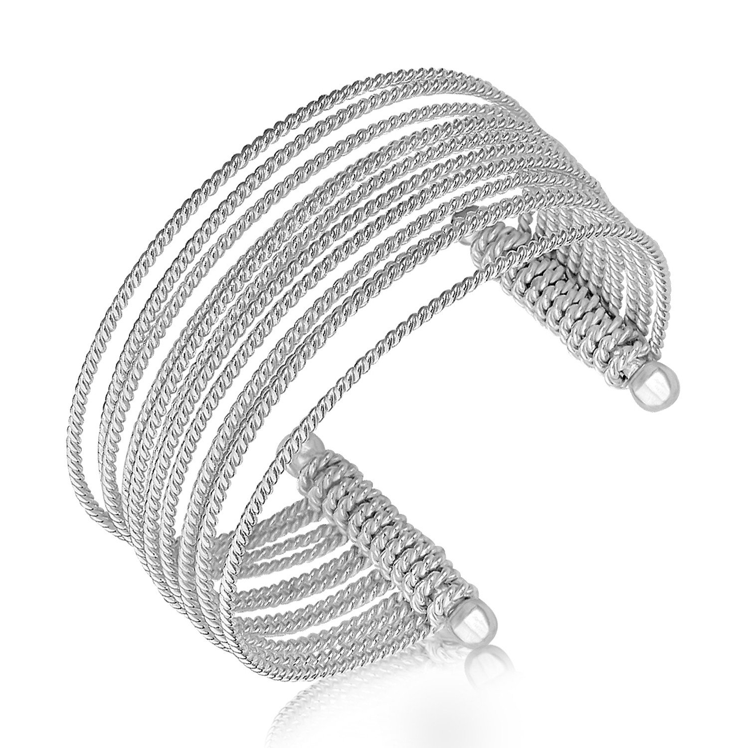 Sterling Silver Multi Strand Cable Wire Cuff with Rhodium Plating For Women