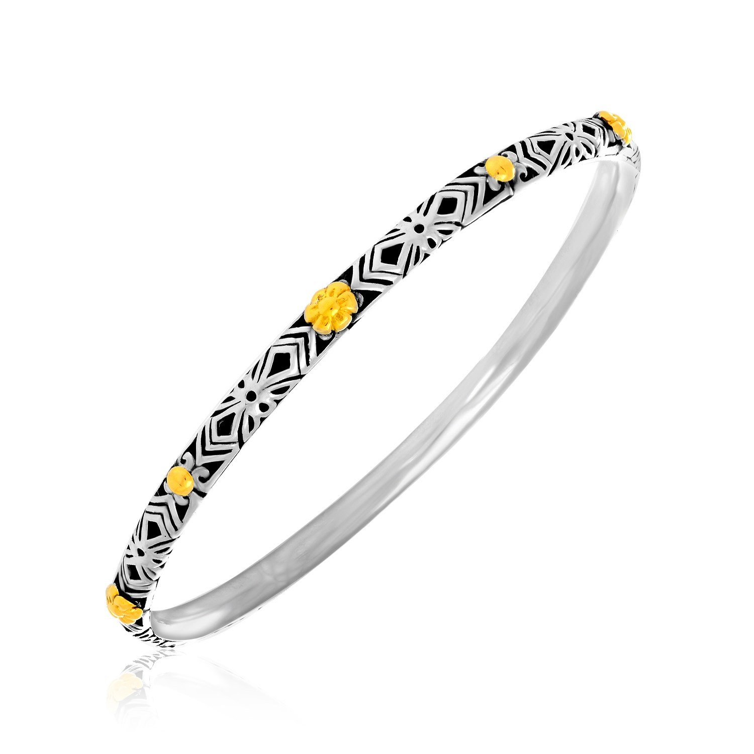 Womens Floral 18K Yellow Gold & Sterling Silver Patterned Slim Bangle