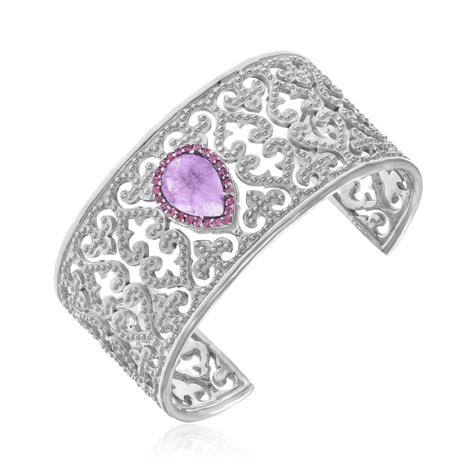 Womens Sterling Silver Byzantine Style Cuff with Amethyst and Pink Sapphires