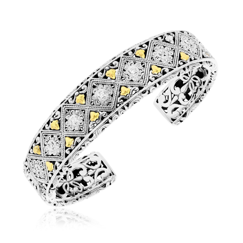 18K Yellow Gold & 925 Sterling Silver Byzantine Diamond Embellished Open Cuff