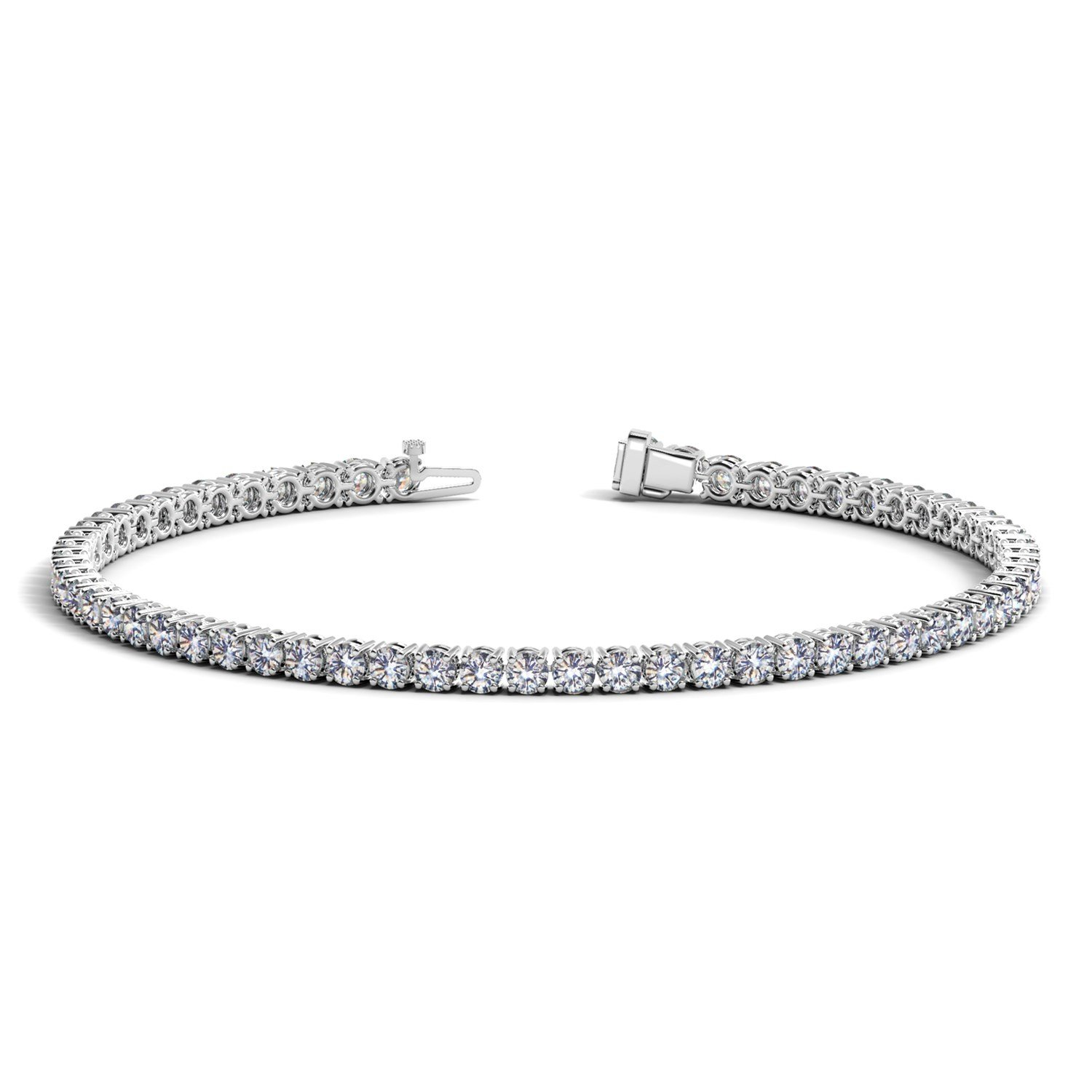 Unique 14K White Gold (3 ct. tw.) Round Diamond Tennis Bracelet 7 inches