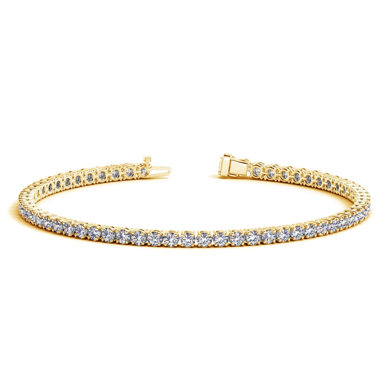 Unique 14K Yellow Gold (3 ct. tw.) Round Diamond Tennis Bracelet 7 inches