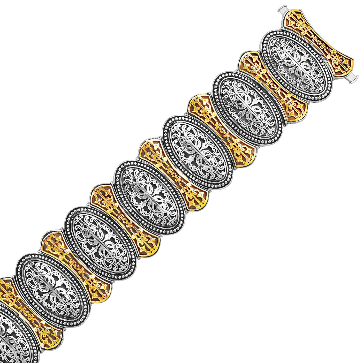18K Yellow Gold 925 Sterling Silver Bracelet in an Oval Overlapping Motif 7.5 inches