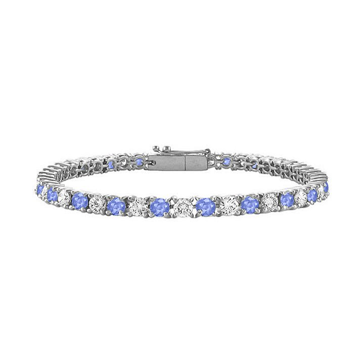 Cubic Zirconia Tennis Bracelet with 2 CT TGW on 14K White Gold and Created Tanzanite