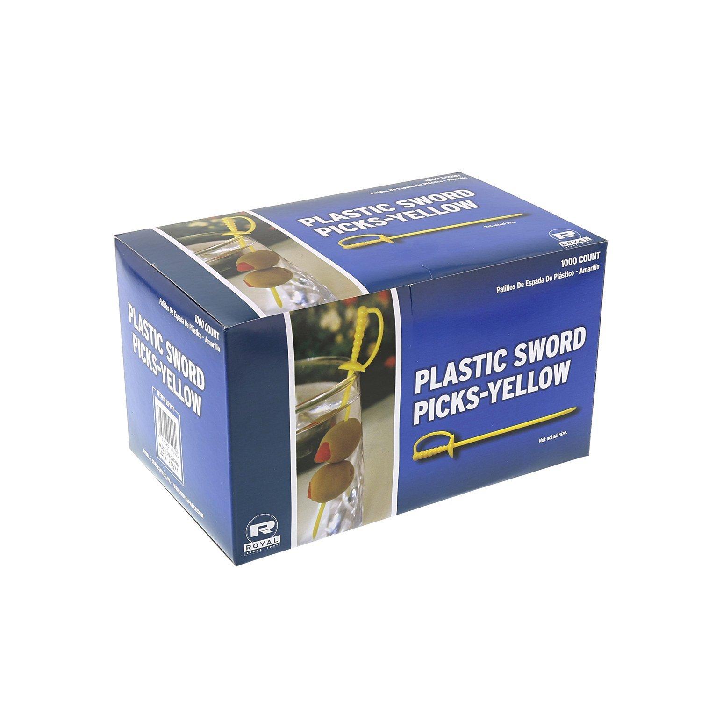"""Royal Paper Yellow Plastic Sword 3.25"""" Food Picks - 1000/Box"""