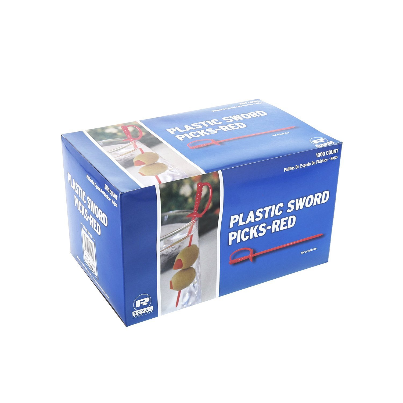 """Royal Paper Red Plastic Sword 3.25"""" Food Picks - 1000/Box"""