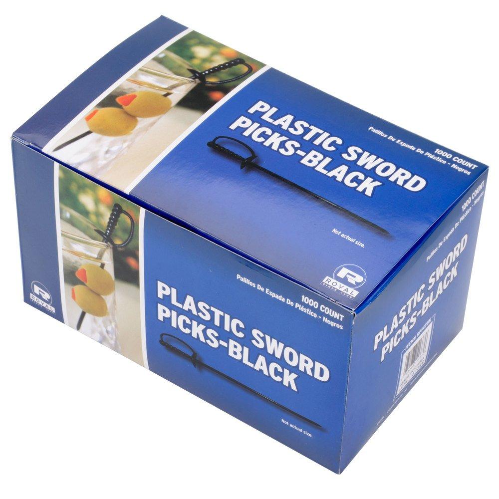 "Royal Paper Black Plastic Sword 3.25"" Food Picks - 1000/Box"