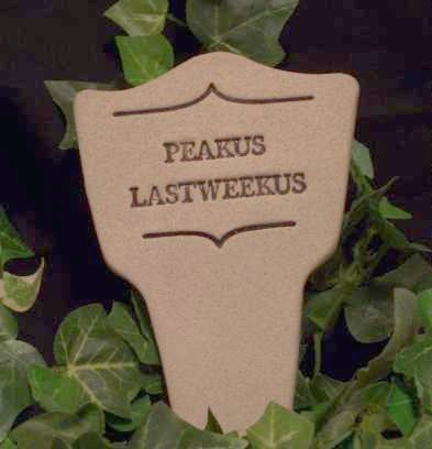 'PEAKUS LASTWEEKUS' Humor in the Garden MARKER decor