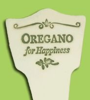 'OREGANO FOR HAPPINESS' Garden Lore MARKER Stoneware