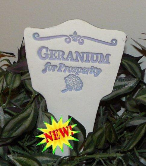 'GERANIUM for Prosperity' Garden Lore MARKER Stoneware